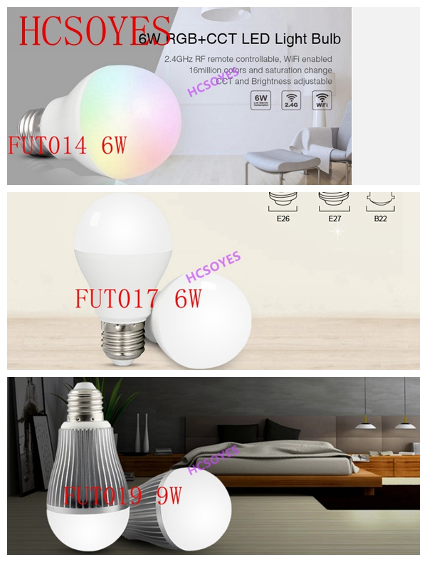 Milight FUT014 6 W/FUT017 6 W/FUT019 9W lâmpada LED Holofotes RGB + CCT/Dual branco 2.4Ghz Remoto Sem Fio Android/iOs APP inteligente lâmpada