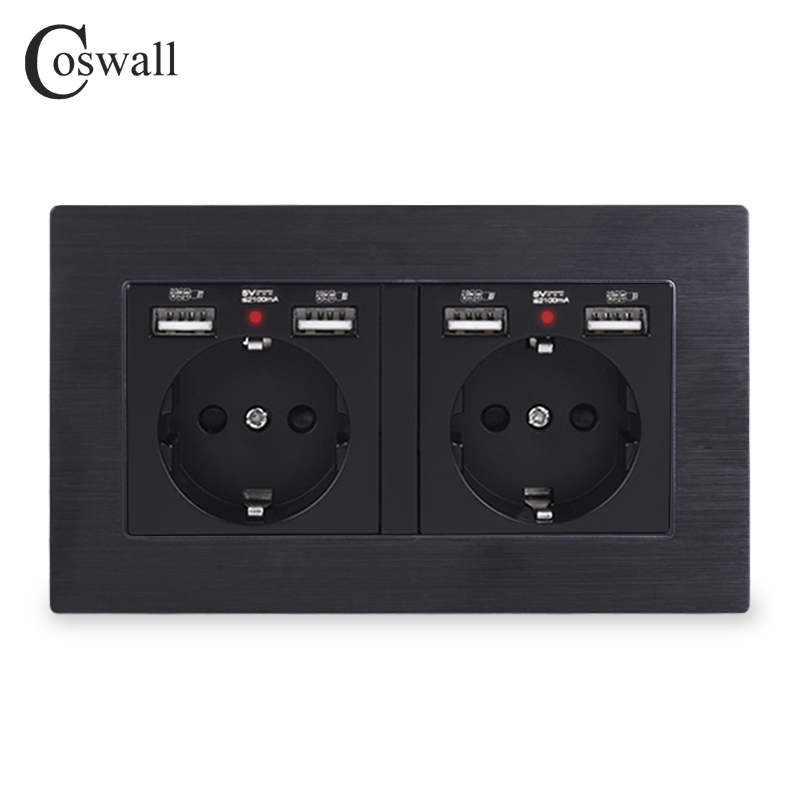 COSWALL Brand 2 Gang Russia Spain EU Standard Wall Socket With 4 USB Charge Port Hidden Soft LED Indicator Aluminum Metal Frame
