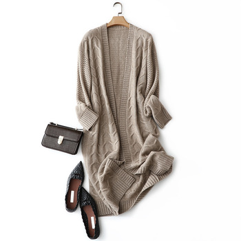 Long Cardigan Women 100% Cashmere  Single Breasted Office Lady V-Neck Kimono Autumn Winter Sweater Clothes