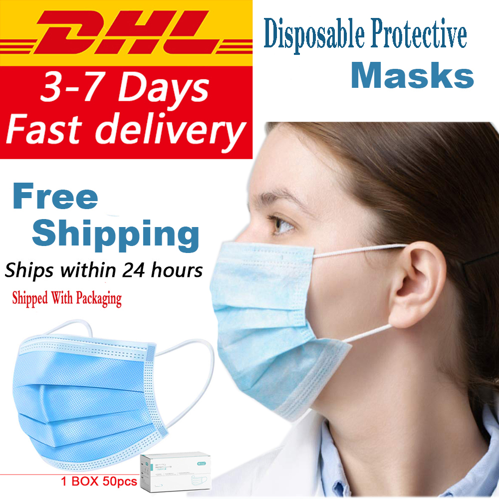 DHL Free Shipping Disposable 3-Ply Mask Anti Dust Masque Disposable Protective Earloop Face Mouth Masks Blue Non-woven