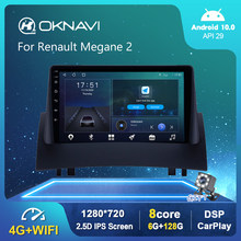 6G 128G Android 10.0 Radio samochodowe dla Renault Megane 2 2004 2005-2008 GPS DSP Carplay 4G WIFI OBD Serero Auto 1280*720P 9