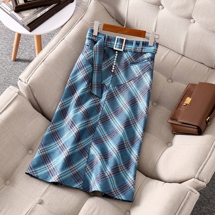 England style women 39 s pencil skirts 2019 autumn women high quality belt plaid skirt A938 in Skirts from Women 39 s Clothing