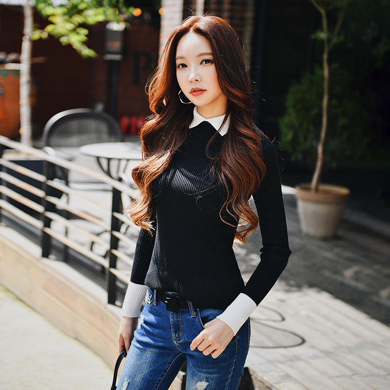 Dabuwawa Autumn Winter Sweater 2019 New Fashion Lady Slim Thin Contrast Color Lapel Base Sweater #D18DJS022