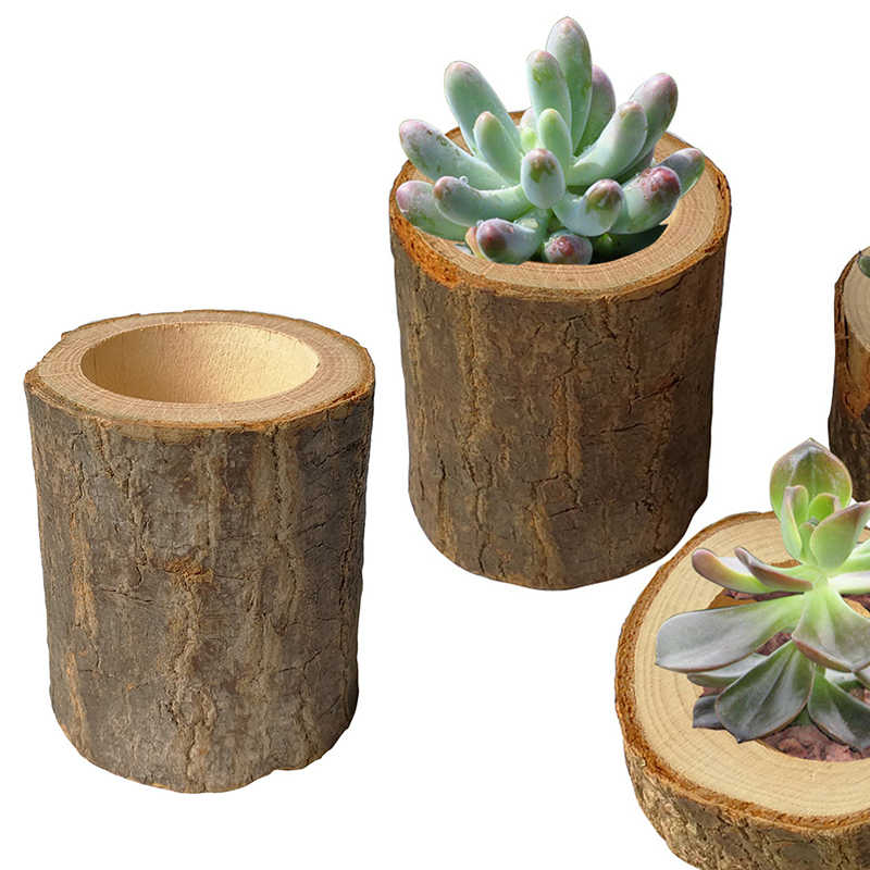Home Office Desktop Succulents Planter Decor Crafts Garden Flower Pot Hollow Wooden Stake Round Plant Pots Tray Mini Storage Can