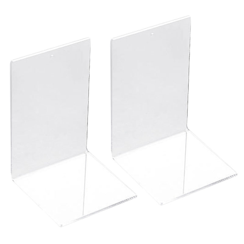2Pcs Transparent Acrylic Desk Book Shelf Bookend Stationery Book Standing File Holder Office Home Table