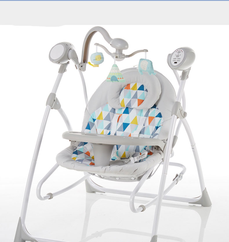 H1f960ba9fa3541328257f92f374c2d93U baby rocking chair baby electric rocking chair to appease the cradle bed Children's dining chair rocking chair with remote cont