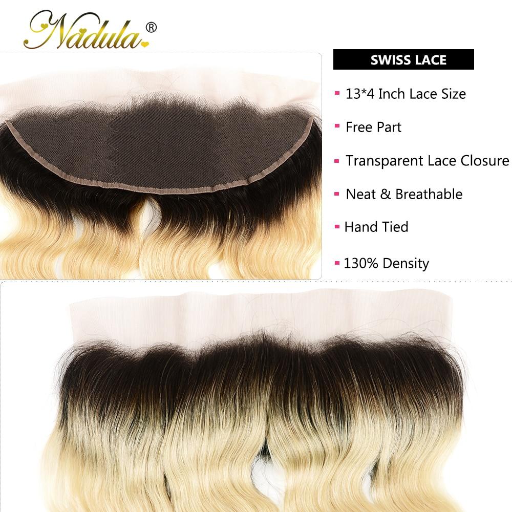 Nadula Hair  Body Wave Hair Bundles With Lace Frontal 3 Bundles T1b/613 Hair 13*4  Bundles With Closure 5