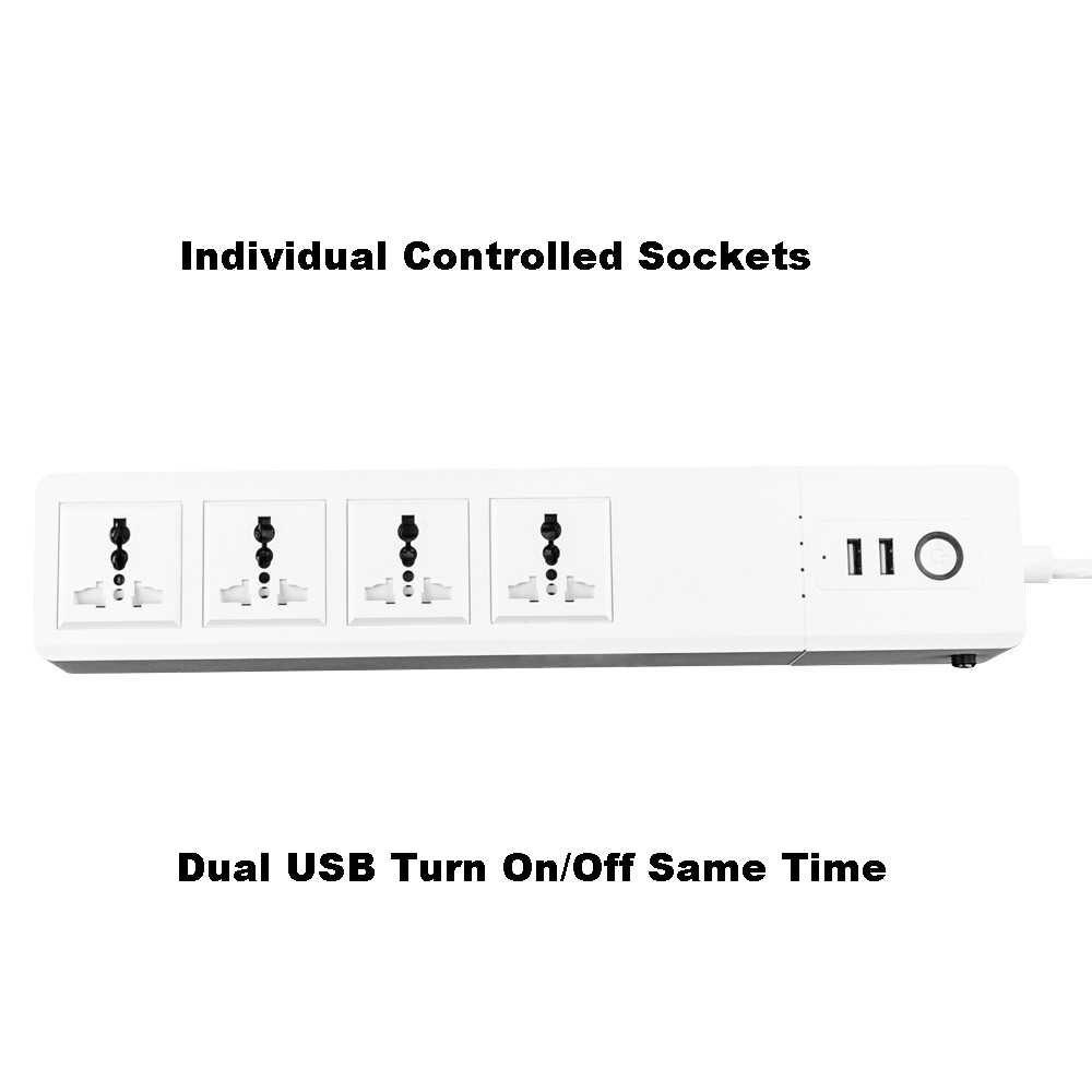 WiFi potencia inteligente de puntos de venta Universal macho de 4 tomas con USB remoto Control de voz, supresor de picos de tensión de trabajo Alexa de Google