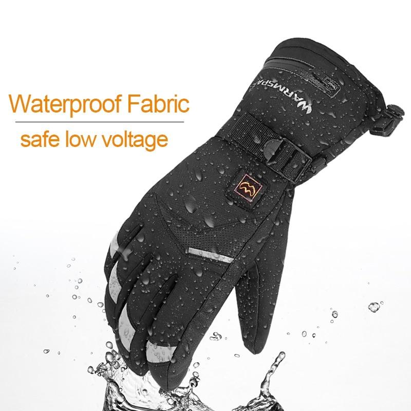 Уличные зимние электрические термальные перчатки водонепроницаемые USB перчатки с подогревом на батарейках с сенсорным экраном для катания...