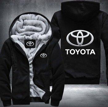 Удобные мужские зимние толстовки в стиле хип хоп с принтом логотипов автомобилей Toyota, теплые толстовки с карманами на молнии для отдыха, быс