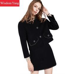 2 pezzi Set di Autunno Inverno Sweed Delle Donne Cappotto Nero di Lana Cappotti di Cachemire Cappotto Delle Signore Elegante Mini Matita del Pannello Esterno Coreano Vestiti