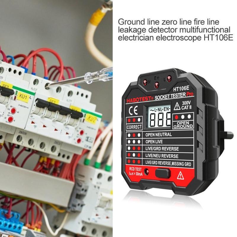 HABOTEST Socket Tester Digital Display Plug In Electric Mains Fault Checker
