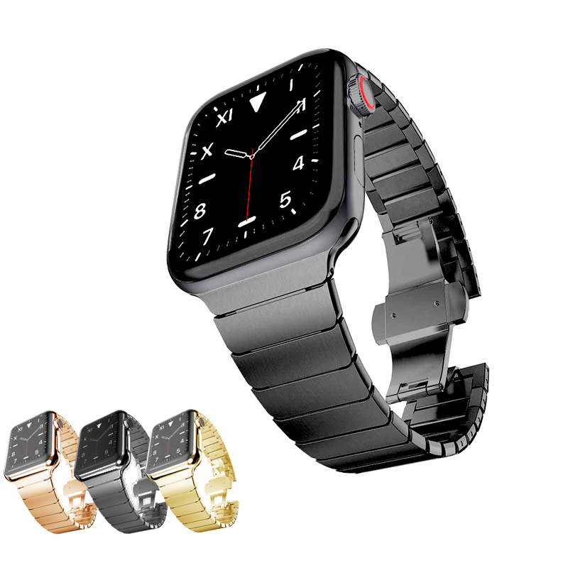 Onthelevel Metal Band Solid Stainless Steel IWatch Band Link Bracelet For Apple Watch Series 1/2/3/4/5 42mm 38mm 40MM 44MM