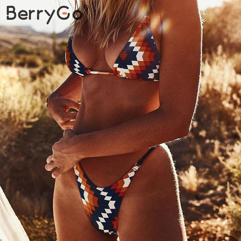 BerryGo Sexy High Cut Bikini Swimsuit Women Push Up Bandage Vintage Ethnic Print Swimwear Women Bathers Triangle Bathing Suit