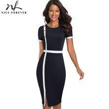 لطيفة للأبد أنيقة Vintage التباين اللون المرقعة مكتب زر vestidos الأعمال العمل Bodycon غمد المرأة اللباس B520