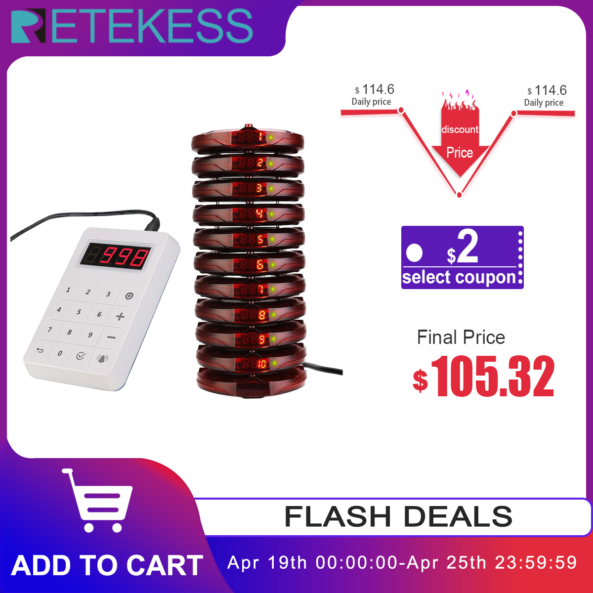 Retekess TD158 Restaurant Pager 10 Coaster Pager Waterproof Touch Keypad For Clinic Coffee Church Nursey Queue Buzzer System