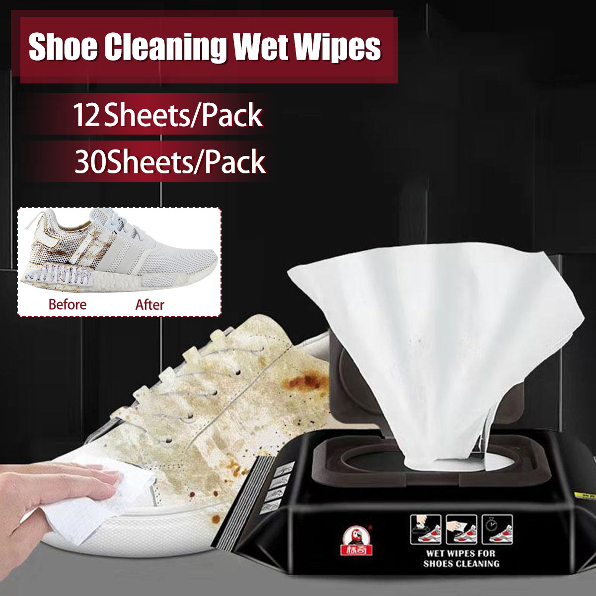 12/30Sheets Portable Disposable Shoe Sneakers Cleaning Quick Wet Wipes White Shoes Artifact Wet Wipes For Shoe Leather Handbags
