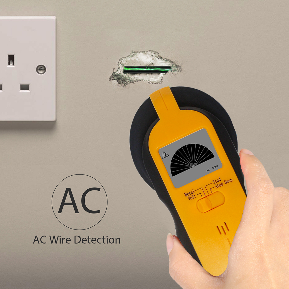 3 in 1 Stud Finder Metal Wood Stud Scan AC Voltage Live Wire Detector Wall Scanner Single-chip Control With Smart Beep Function