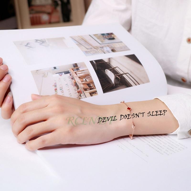 Waterproof Temporary Tattoo Sticker Black Devil Doesn't Sleep English Letters Flash Tatoo Fake Tatto Neck Wrist For Woman Men 4