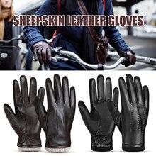 Guantes de ciclismo para hombre guantes de piel de oveja para deporte al aire libre cálido lana forrada Vintage vestido diario guantes de conducción