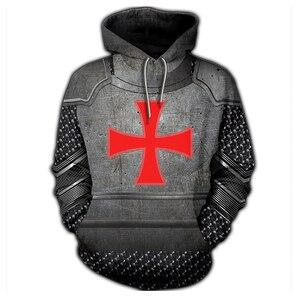 Image 4 - 3D Printed Knights Armor Templar Tops Streetwear Hoodie Long Sleeve Pullover Hoodie