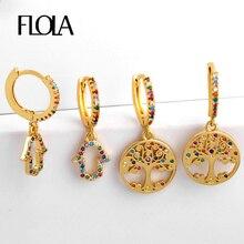 FLOLA CZ Fatima Hand Earrings Rainbow for Woman Tree of Life mano fatima Gold Filled Huggies Zircon ersq72