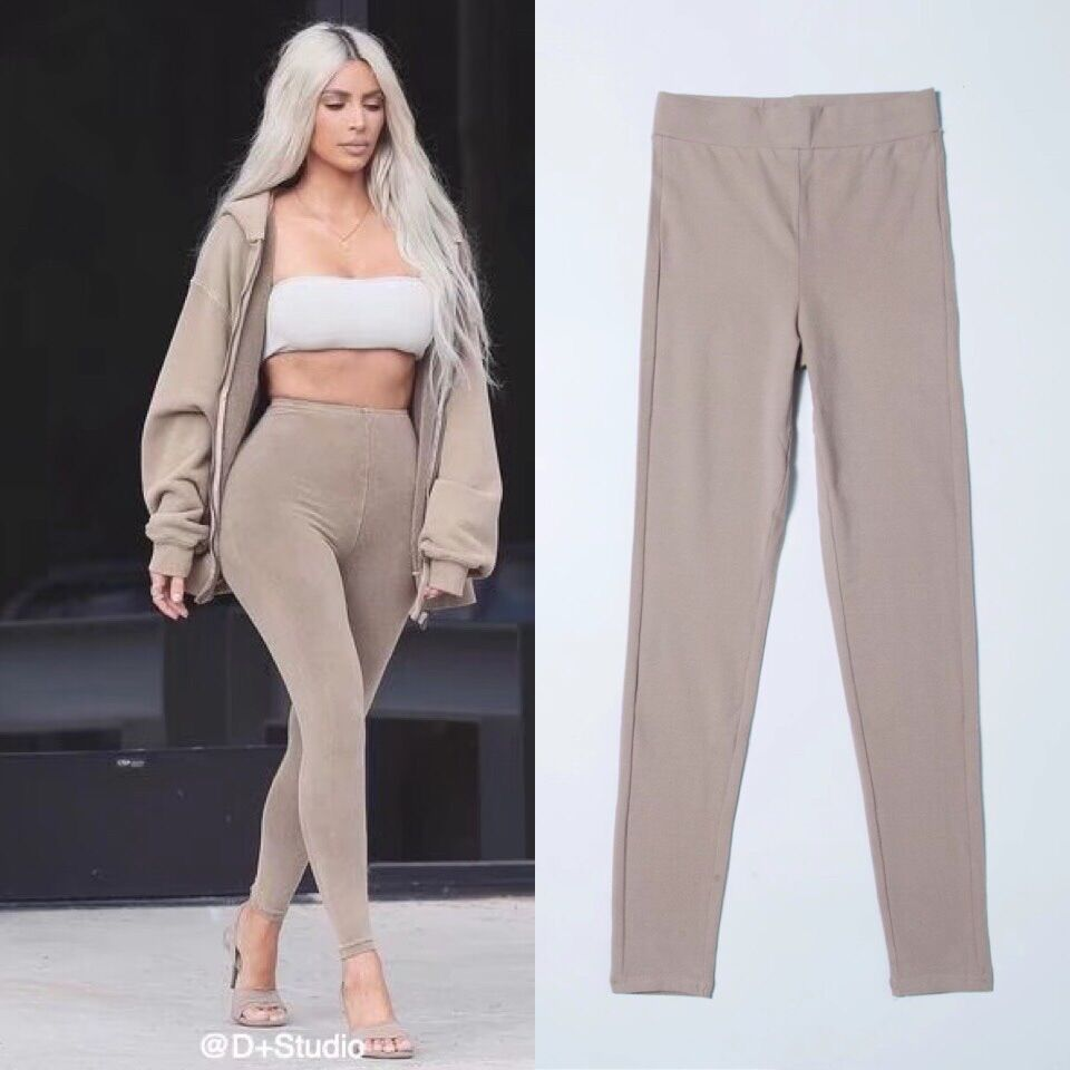 Occident Fashion Kardashian Street Style Sports Casual Elasticity High-waisted Sheath Leggings Outer Wear Skinny Pants