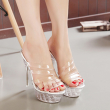 PVC Jelly Sandals Women Shoes High Heels Peep Toe Summer Transparent Platform Heels Sandals Clear Slippers Slides Plus Size35-43