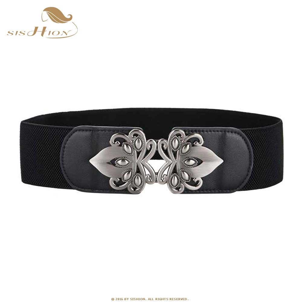 SISHION Vintage Ladies Retro Leather Wide Waist Belt Elastic Stretch Women Belt Decoration For Dress SP0355