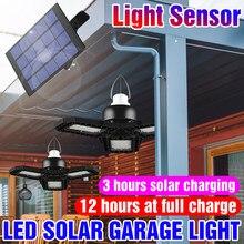 Bombilla LED Solar 60W 80W al aire libre luz LED de energía Solar lámpara de jardín Deformable luz LED para garaje portátil impermeable lámpara de emergencia