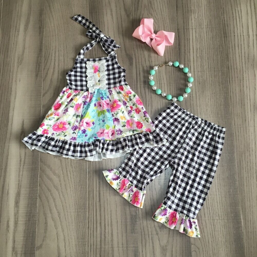 Baby Girl Girls Floral Outfits Floral Dress With  White And Black Plaid Capri Pants Girls Outfits With Accessories