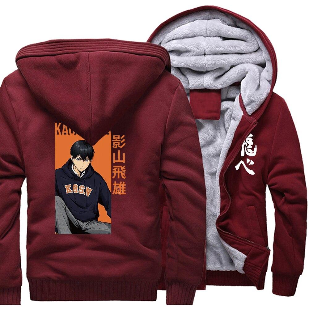 Japanese Anime Haikyuu Print Kageyame Mens Hoodies Streetwear 2021 Winter Warm Sweatshirts Harajuku Coats Outerwear Funny Jacket