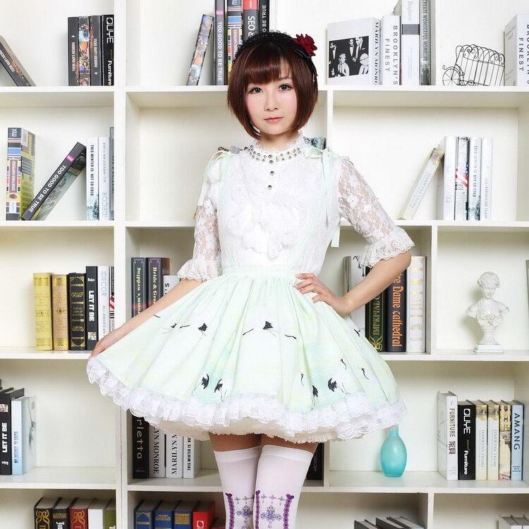 Princesse douce lolita jupes Original fée grue et Lad nuage grue vintage japonais soie plissée demi-longueur jupe GZWY061
