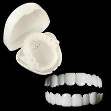 Etiqueta personalizada superior e inferior falso dentadura dentes falsos folhetos sorriso perfeito dentadura conforto ajuste flex dentadura colar cintas