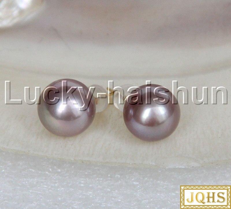 AAA naturel 10mm rond violet mer du sud perles perles boucles d'oreilles 14KT or poste j12364 - 4
