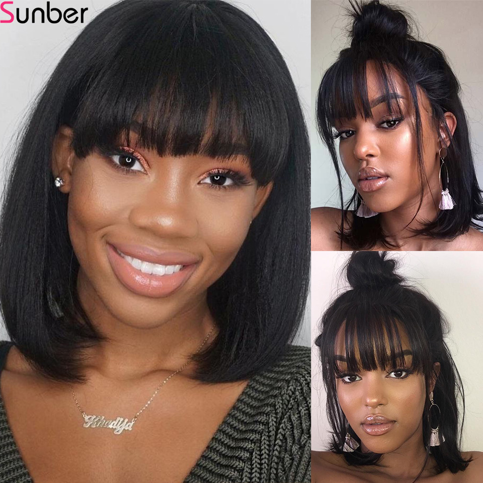Sunber Short Lace Front Human Hair Wigs Bob Wig With Bang For Women Remy Brazilian Straight Hair 13x4 180 Density Glueless Wig