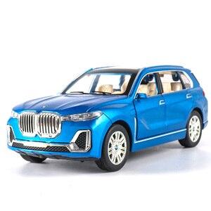 Image 1 - 1:24 nowy BWM X7 aluminiowy Model samochodu Diecasts pojazdy zabawkowe symulacja światła dźwięk wycofać zabawki dla dzieci kolekcje darmowa wysyłka