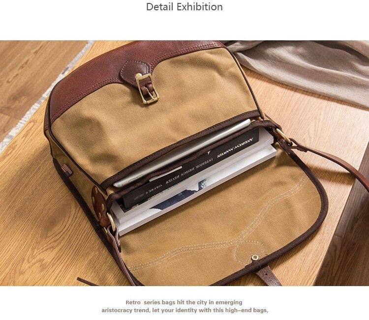 MAHEU Vintage Handmade Leather Shoulder Bag Leather Canvas Cross Body Bags For Men Male Cowhide Boy's School Bags Retro Men Bag - 4