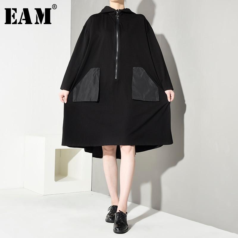 [EAM] Loose Fit Big Pocket Split Joint Jacket New Hooded Long Sleeve Ribbon Women Coat Fashion Tide Spring Autumn 2020 EA5460