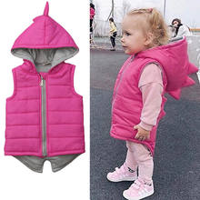 Winter Infant Kinder Baby Mädchen Dinosaurier Weste Zip Mit Kapuze Jacke Mantel Tops Oberbekleidung Rosa Hoodies 6 M-5 T(China)