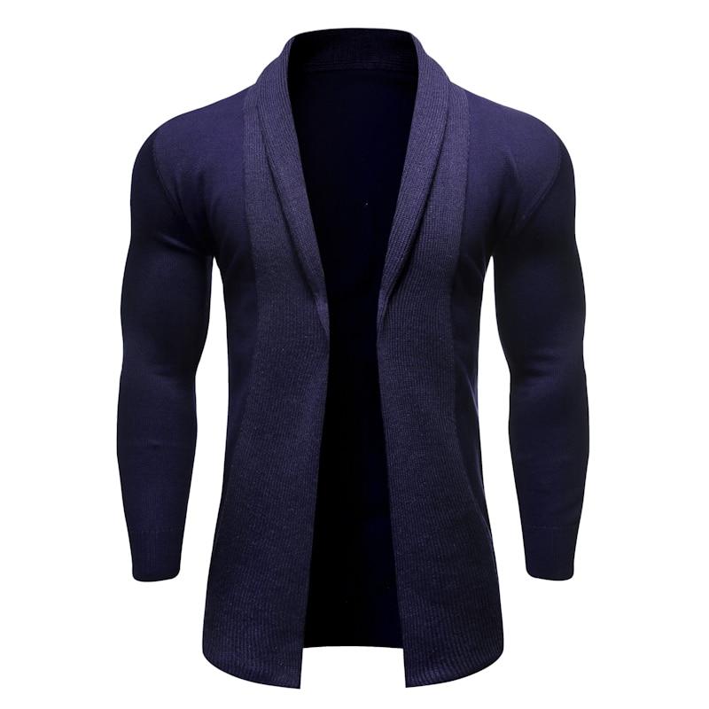Knit Cardigan Men's Solid Color Lapel No Doors Autumn Simple Joker Sweater Jacket Warm Soft Breathable Sweater