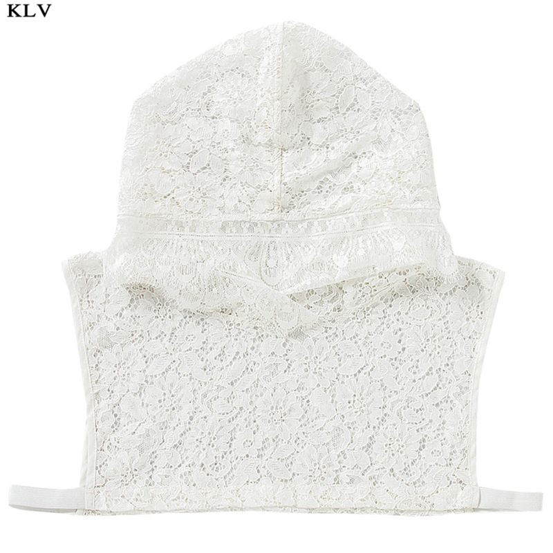 Women Girls Crochet Hollow Floral Lace Fake Collar With Hoodie Cap Fairy Pullover Half-Shirts Sweater Decorative Sunscreen Hat
