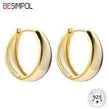 Серьги кольца besimpol из серебра 925 пробы с геометрическим