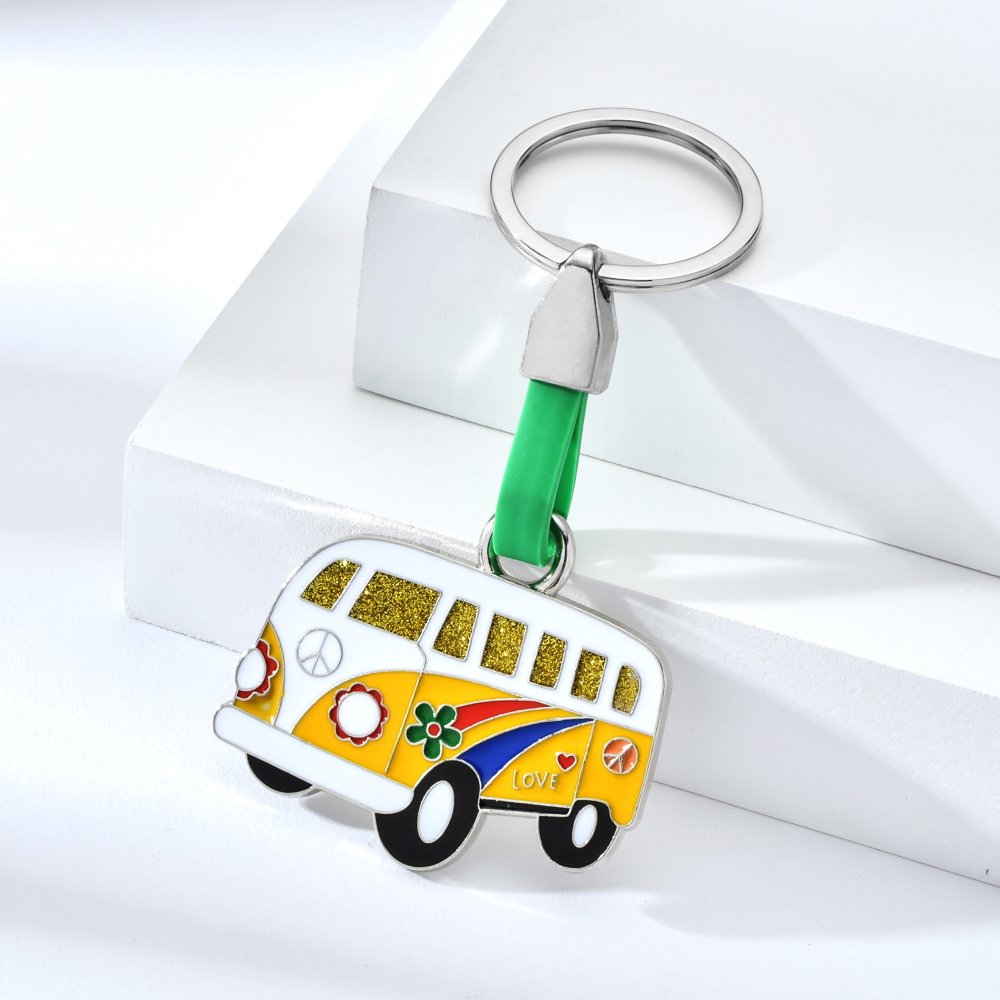 Vicney Spain Sign Van Bus Keychain Iron Alloy Colorful Square Key Chain Fashion Jewelry Purse Car Travel Key Chain Of Summer