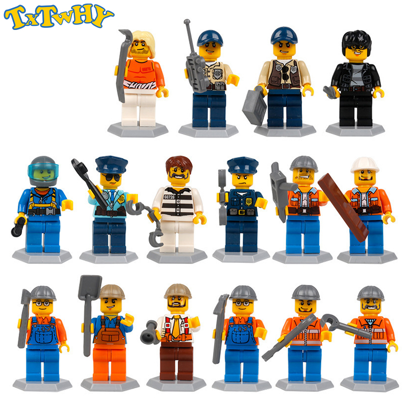 Building Blocks Compatible For DUPLOed Family Worker Police Bricks Action Figures Toys For Children Gifts