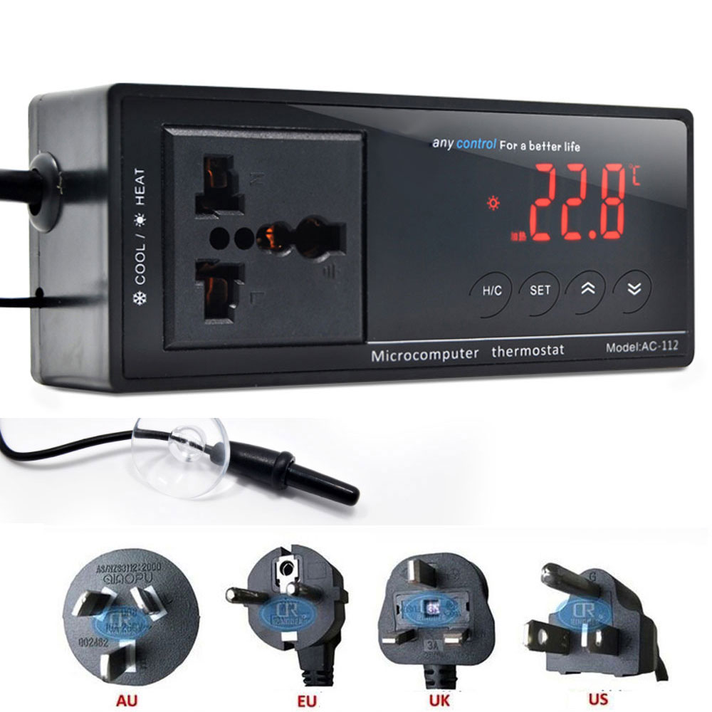 AC 112 термостат 220 в цифровой регулятор температуры Термостат для аквариума нагреватель, с водонепроницаемым датчиком|Оборудование контроля температуры|   | АлиЭкспресс