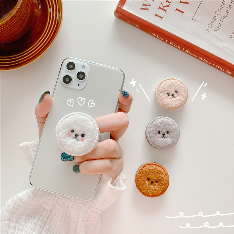 Cute Plush Teddy Dog Cartoon Round Universal Smart Mobile Phone Ring Holder Airbag Gasbag Fold Stand Bracket Mount For IPhone