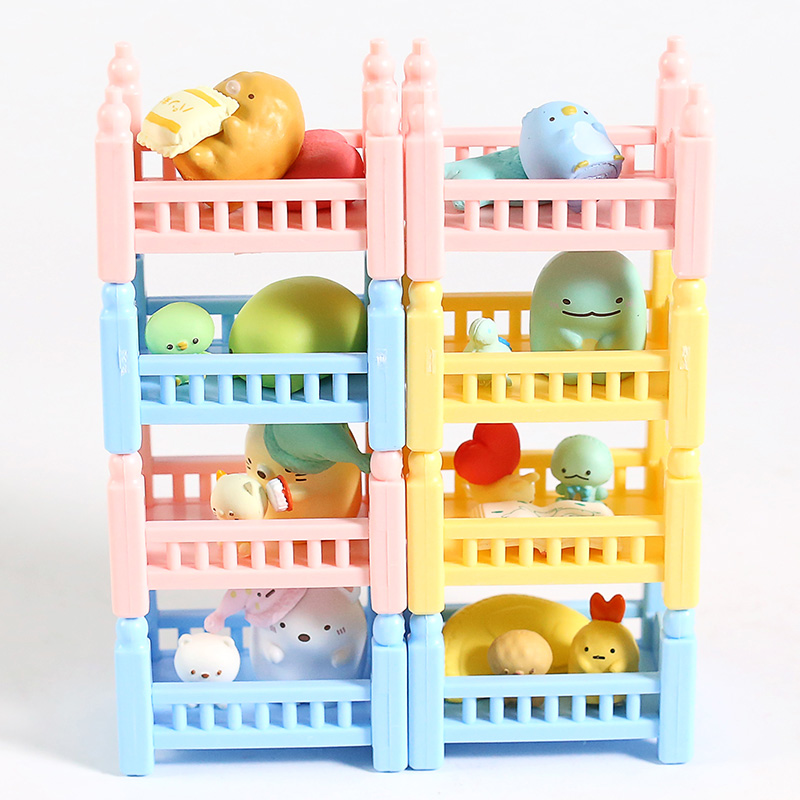 Sumikko Gurashi Good Night Bed Shirokuma Tokage Tonkatsu Neko Pengin Mini PVC Figures Toys 8pcs/set