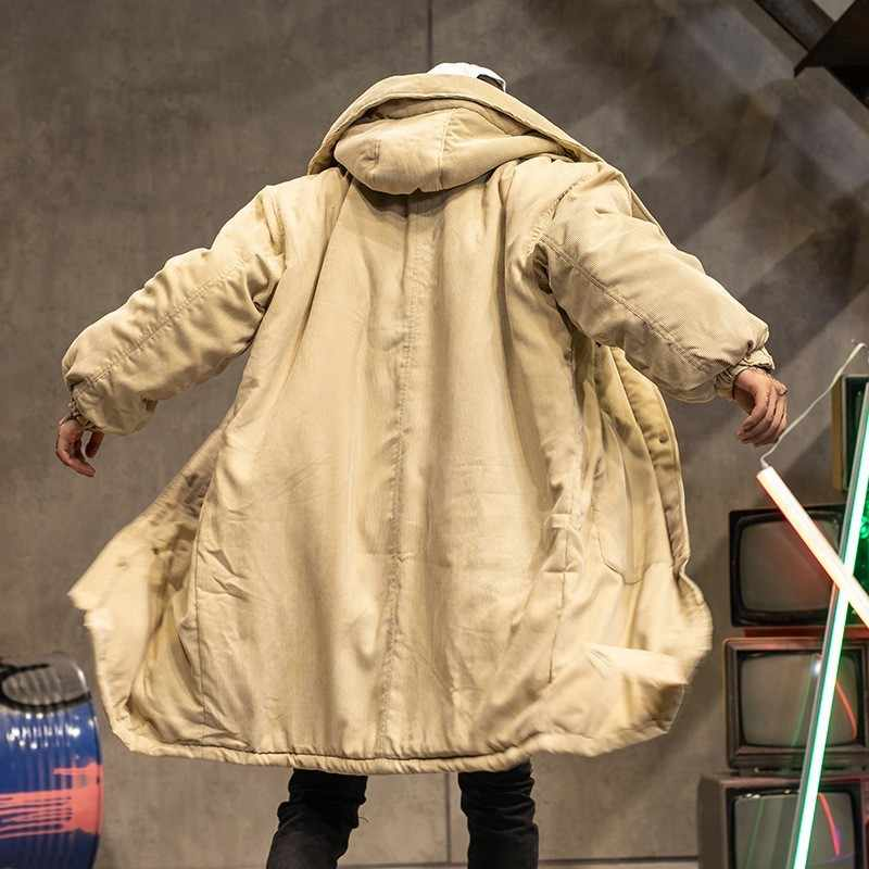 Winter Koreanische Paar Oversize Lose Cord Medium Länge Mäntel Langarm Einreiher Männer Baumwolle Futter Mit Kapuze Mäntel