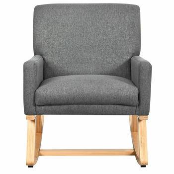 Fotel bujany z tkaniny w połowie wieku tapicerowany fotel akcentowy fotel wypoczynkowy szary tanie i dobre opinie CN (pochodzenie) Meble do salonu HW67036GR Szezlong Meble do domu Wood + Sponge
